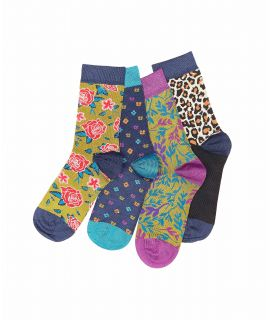 WILD THING BAMBOO Four pairs pattern socks in a gift box