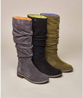LOCH Long ruched suede boots