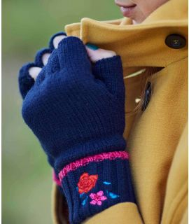 DALE GLOVE Floral embroidered knit gloves