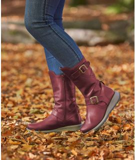NIGHTJAR Wedge mid-length leather boots