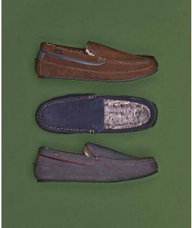 GRIN Fluffy suede moccasin slipper