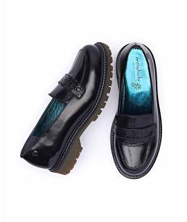 ESTUARY Ladies embossed saddle loafers