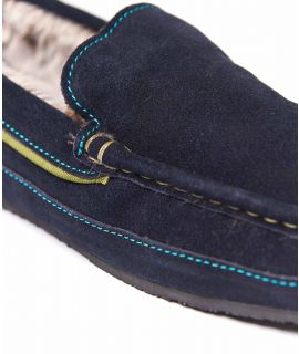 GRIN Fluffy suede moccasin slipper