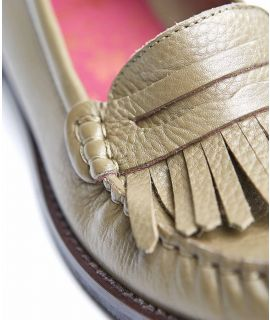 TORTOISESHELL Fringed leather loafers