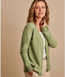 V NECK CARDIGAN MERINO & CASHMERE A86L Ladies soft wool cardigan
