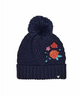 DALE HAT Floral embroidery pom pom knit hat