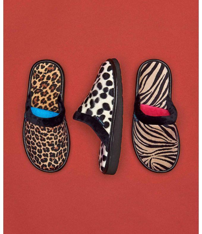 Baba | Animal print mule slippers
