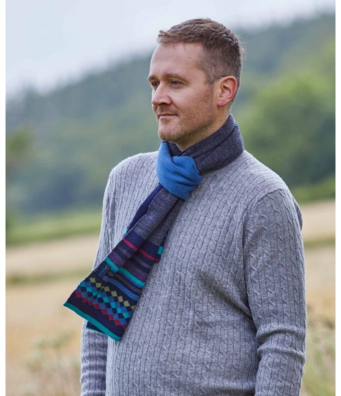 ARETE SCARF Men's patterned knitted scarf