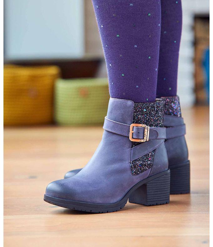 QUINTE Glitter panel heeled boots