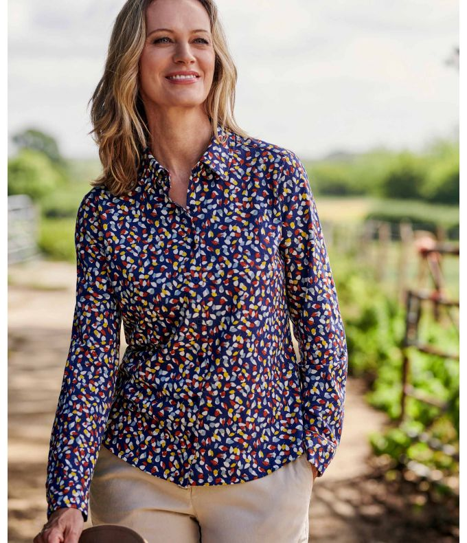 BUTTON UP SHIRT JERSEY J46L Ladies pure cotton shirt