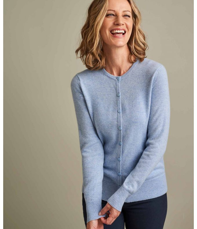 CREW NECK CARDIGAN PURE CASHMERE Q37L Ladies pure cashmere cardigan